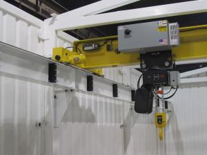 Interior of building with crane